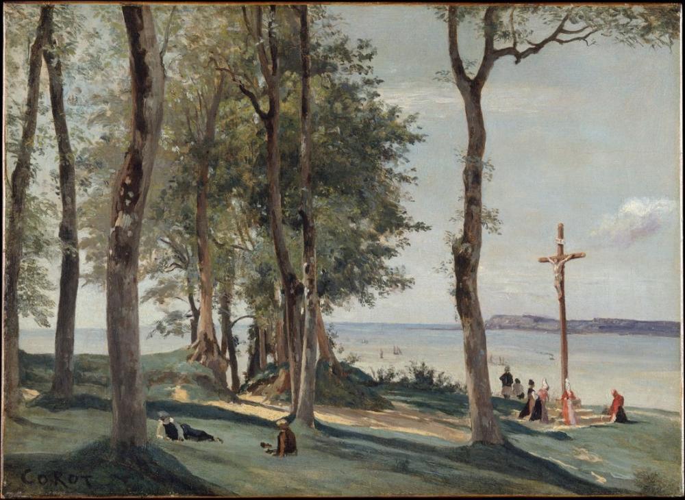 Camille Corot Honfleur Calvary, Kanvas Tablo, Camille Corot