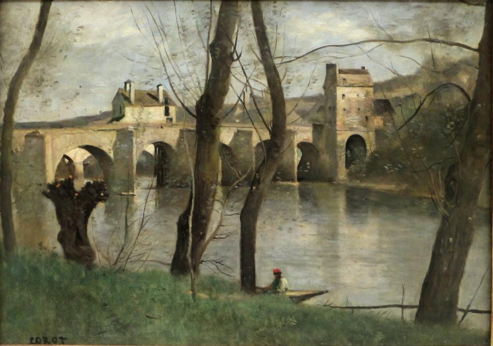 Camille Corot Mantes Köprüsü, Kanvas Tablo, Camille Corot