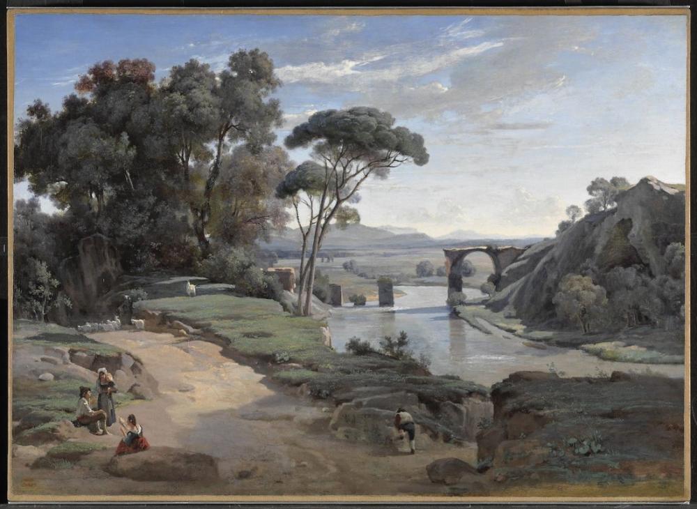 Camille Corot Narni Köprüsü, Kanvas Tablo, Camille Corot