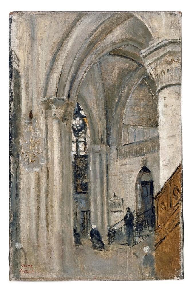 Camille Corot Mantes Kilisenin İçi, Kanvas Tablo, Camille Corot