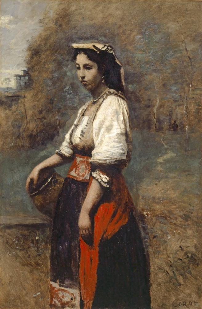 Camille Corot Çeşmede İtalyan, Kanvas Tablo, Camille Corot