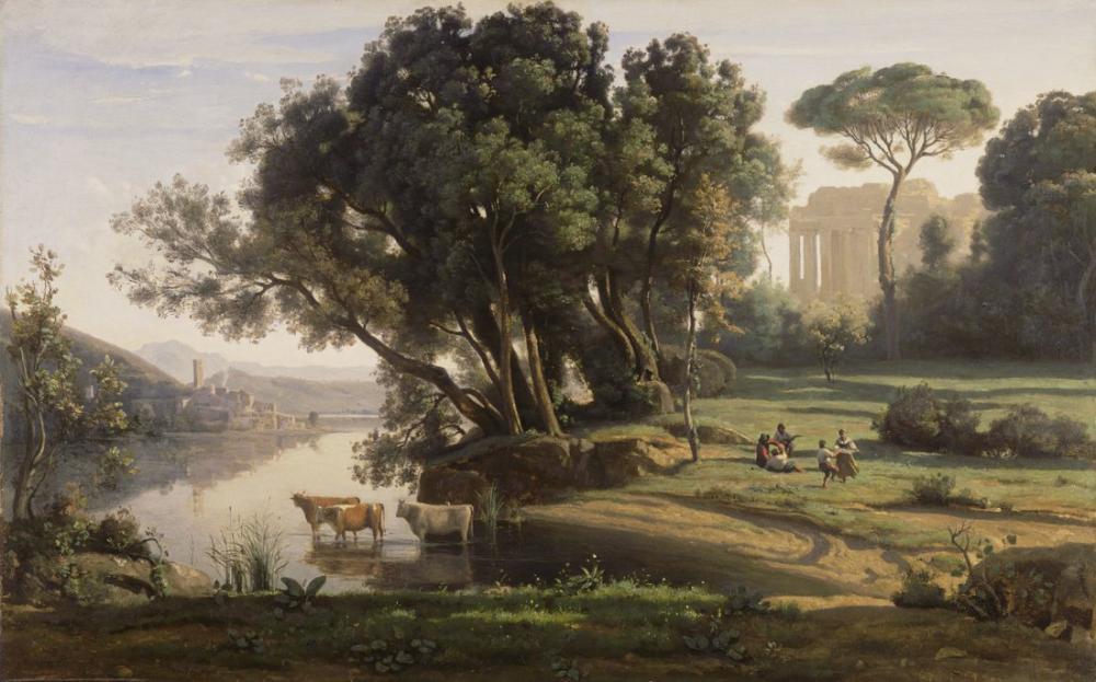 Camille Corot İtalyan Manzara, Kanvas Tablo, Camille Corot