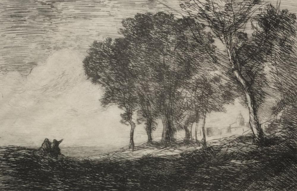 Camille Corot İtalyan Manzara II, Kanvas Tablo, Camille Corot
