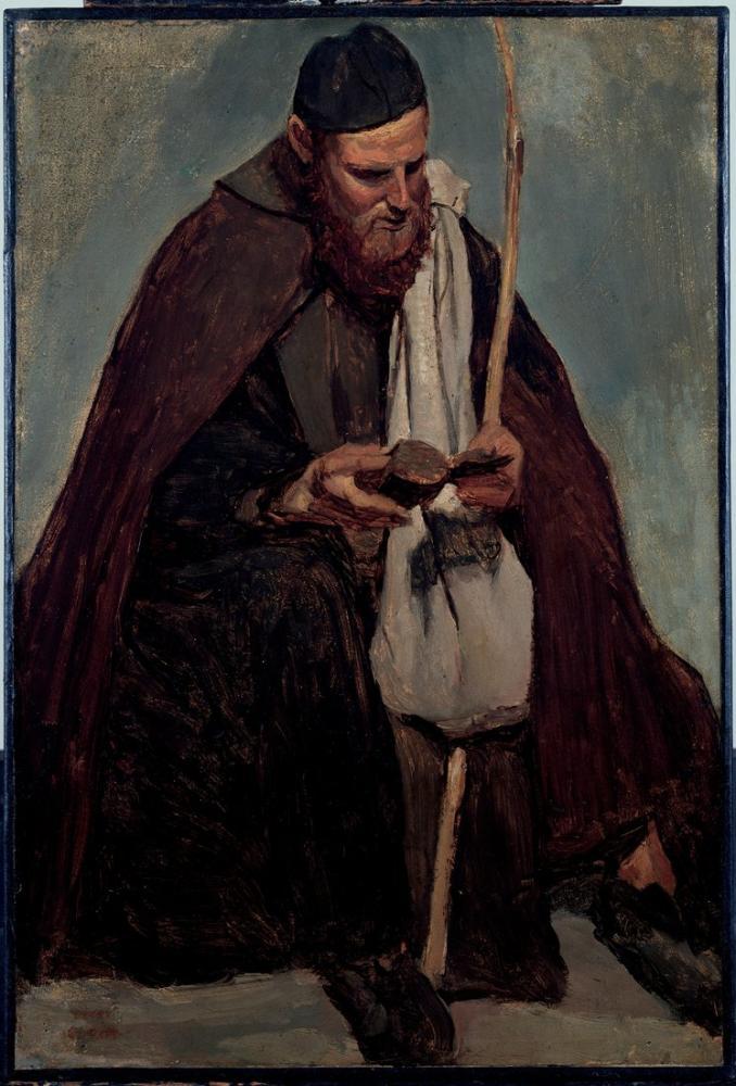 Camille Corot İtalyan Keşiş Oturuyor Moine Lisant Okuyor, Kanvas Tablo, Camille Corot