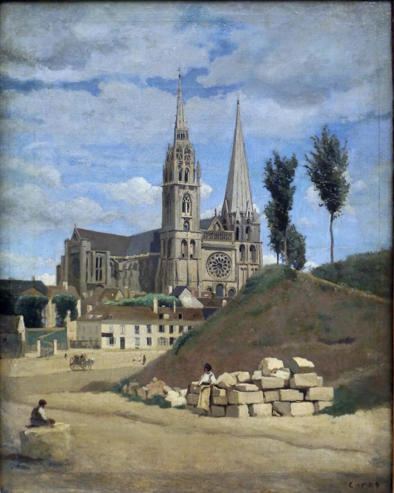 Camille Corot Chartres Katedrali, Kanvas Tablo, Camille Corot