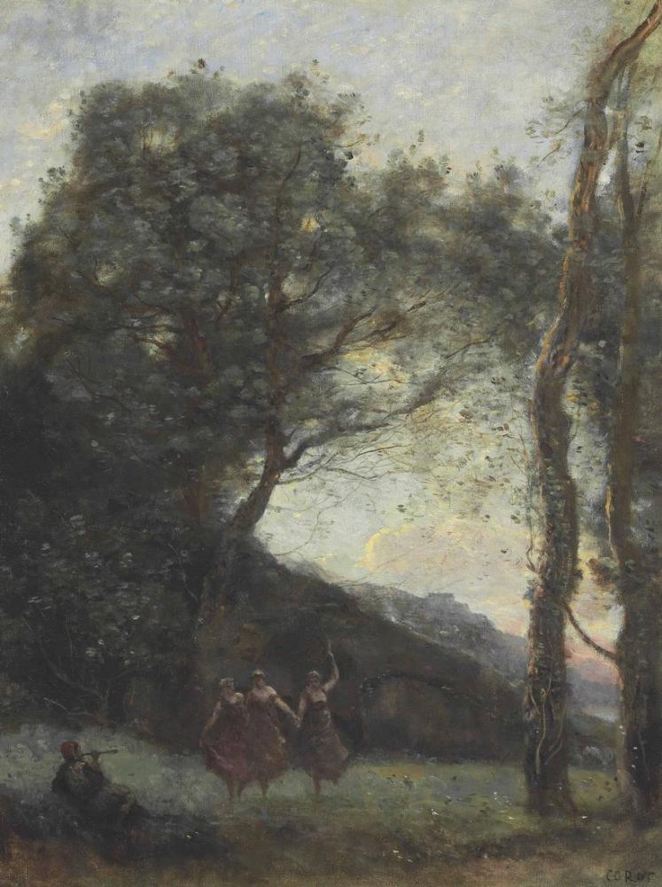 Camille Corot Üç Çoban Dansı, Kanvas Tablo, Camille Corot
