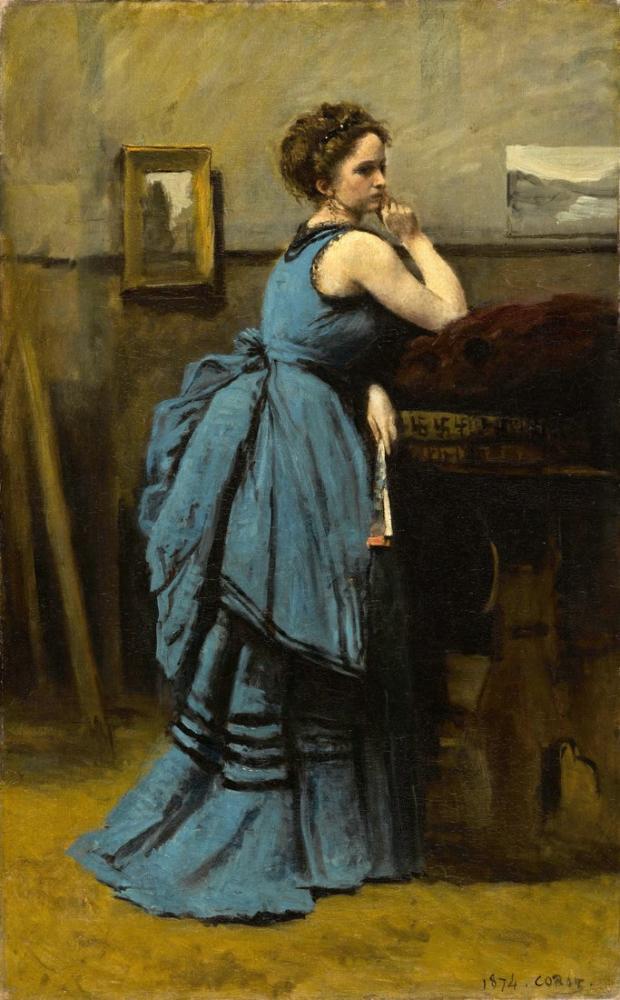 Camille Corot Leydi Mavi, Kanvas Tablo, Camille Corot