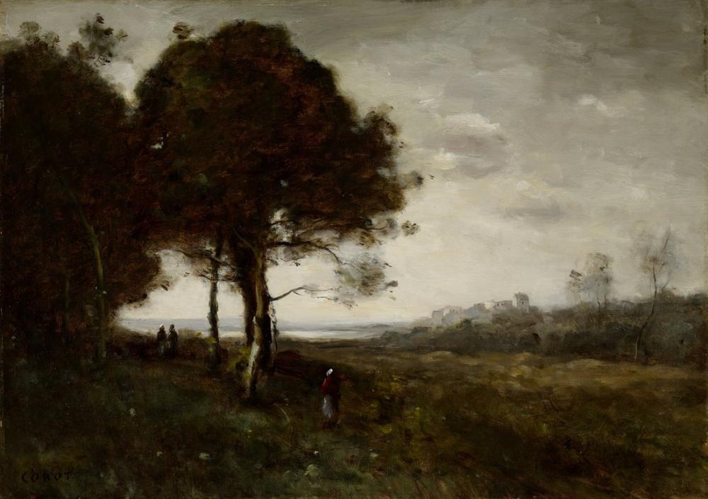 Camille Corot Manzara 1870, Kanvas Tablo, Camille Corot
