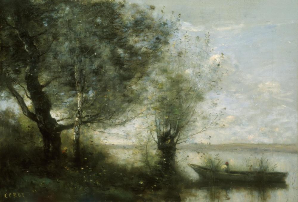 Camille Corot Bir Tekne İle Manzara, Kanvas Tablo, Camille Corot