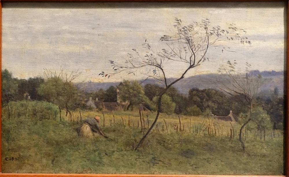 Camille Corot Köylü Bir Kadın ile Manzara, Kanvas Tablo, Camille Corot