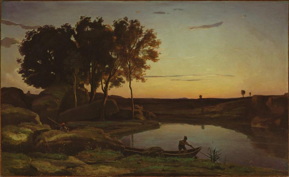 Camille Corot Göl Ve Kayıkçı İle Manzara, Kanvas Tablo, Camille Corot