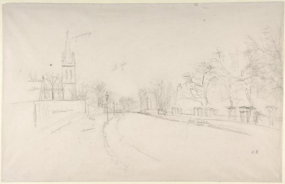 Camille Pissarro Beulah Tepesi Kuzey Tarafından Görülen All Saints Kilisesi Yukarı Norwood, Kanvas Tablo, Camille Pissarro, kanvas tablo, canvas print sales