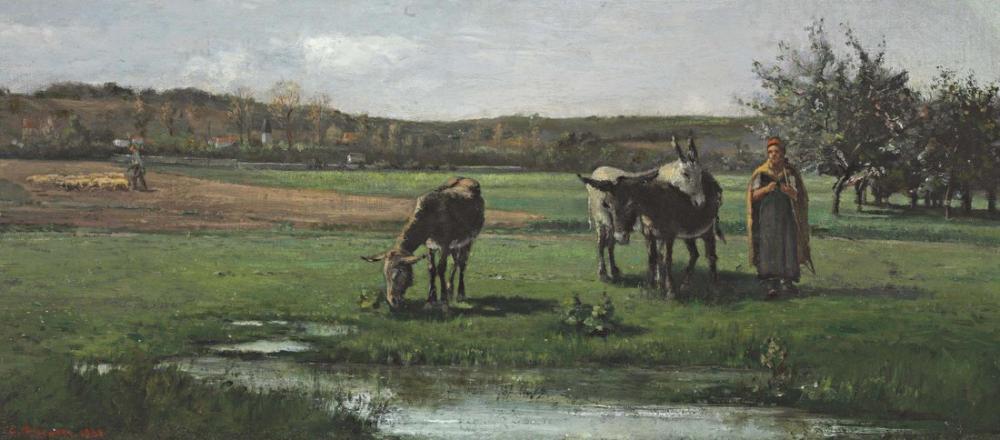 Camille Pissarro Mera Üzerinde Eşekler, Kanvas Tablo, Camille Pissarro