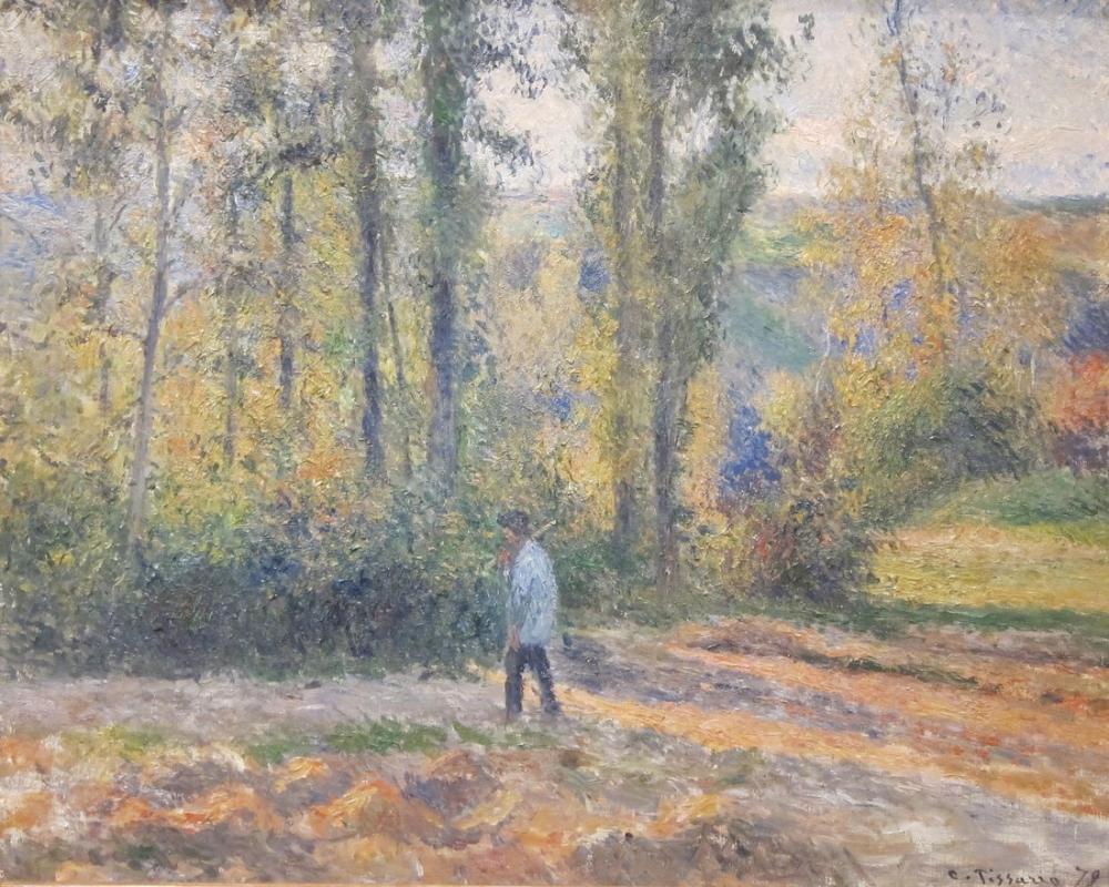 Camille Pissarro Pontoise Bir Avcı İle Manzara, Kanvas Tablo, Camille Pissarro