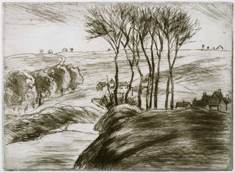 Camille Pissarro Landscape Near Osny State II, Canvas, Camille Pissarro, kanvas tablo, canvas print sales