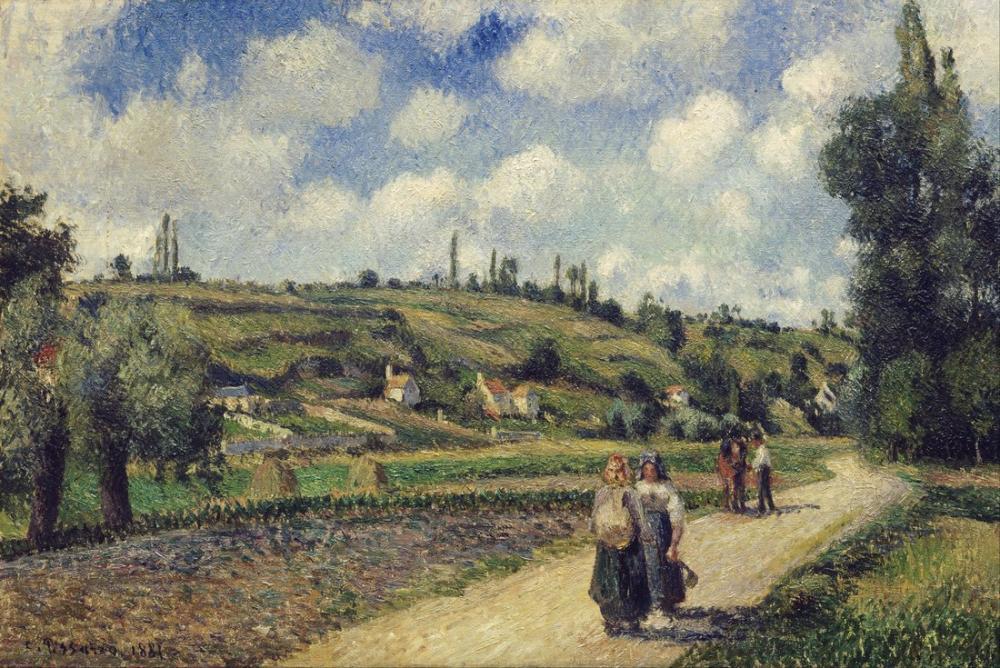 Camille Pissarro Auvers Road Pontoise Yakınındaki Manzara, Kanvas Tablo, Camille Pissarro