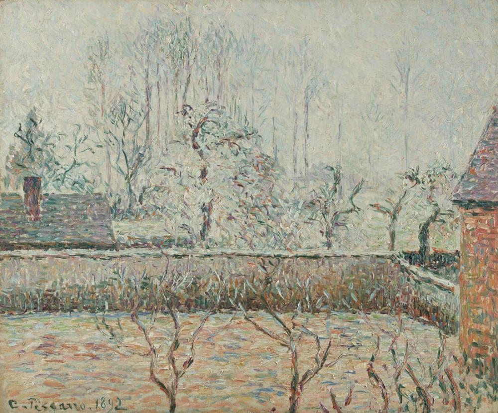 Camille Pissarro Evlerin ve Çit Duvar Don ve Sis ile Manzara, Kanvas Tablo, Camille Pissarro
