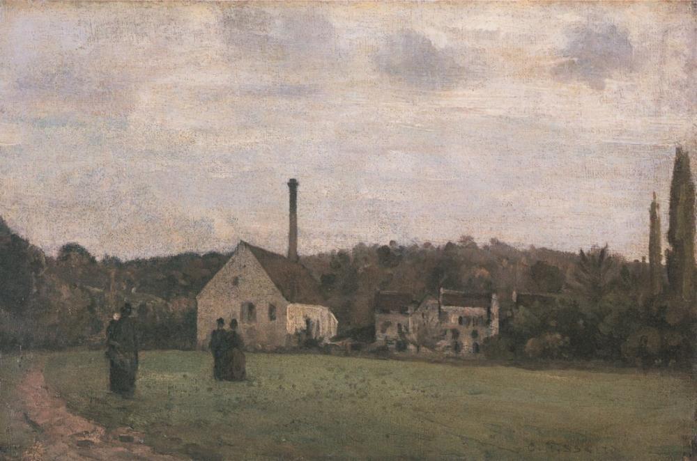 Camille Pissarro Küçük Fabrika, Kanvas Tablo, Camille Pissarro, kanvas tablo, canvas print sales