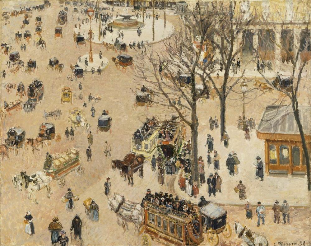 Camille Pissarro Due Fransız Tiyatrosu, Kanvas Tablo, Camille Pissarro