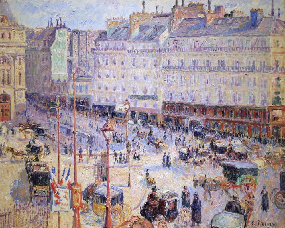 Camille Pissarro Havre Parigi Meydanı, Kanvas Tablo, Camille Pissarro, kanvas tablo, canvas print sales