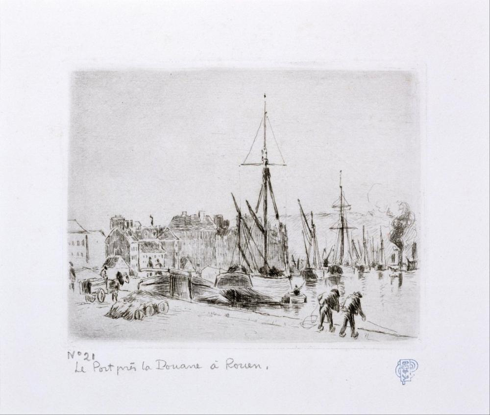 Camille Pissarro  La Port Pres De Douanne A Rouen, Canvas, Camille Pissarro
