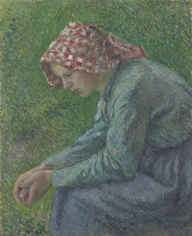 Camille Pissarro Oturmuş Bir Köylü Kadın, Kanvas Tablo, Camille Pissarro, kanvas tablo, canvas print sales