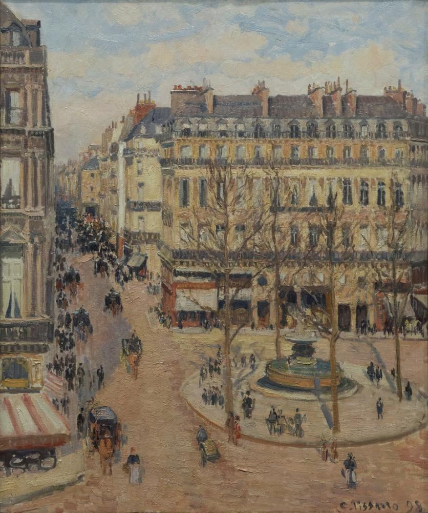 Camille Pissarro Rue Saint Honore Sabah Güneşi Etkisi, Kanvas Tablo, Camille Pissarro