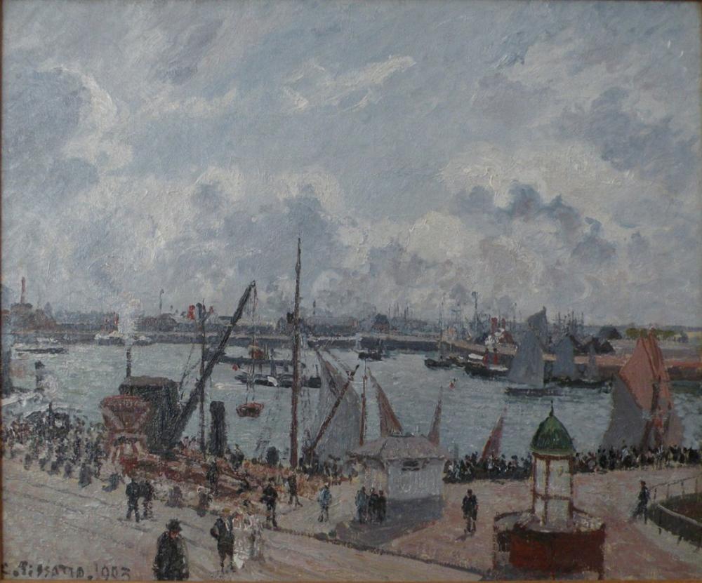 Camille Pissarro Le Havre Lavant Limanı Sabah Güneşi Yükselen Gelgit, Kanvas Tablo, Camille Pissarro, kanvas tablo, canvas print sales