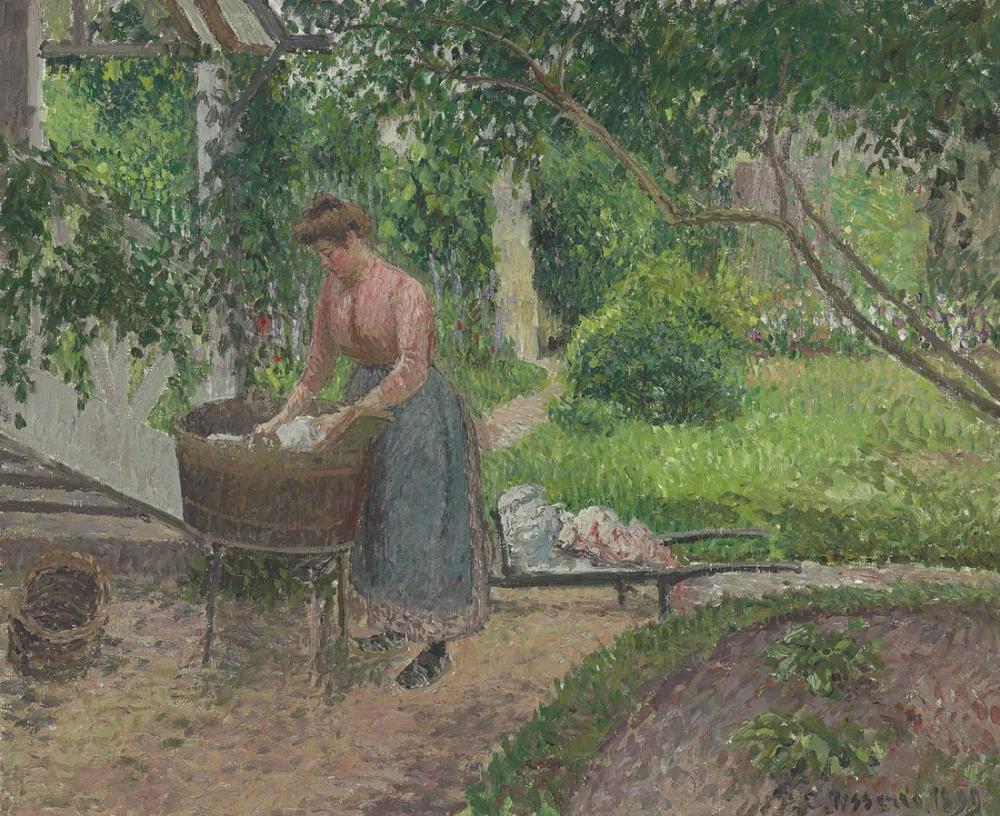 Camille Pissarro Eragny Bahçesinde Çamaşır Yıkayıcı, Kanvas Tablo, Camille Pissarro
