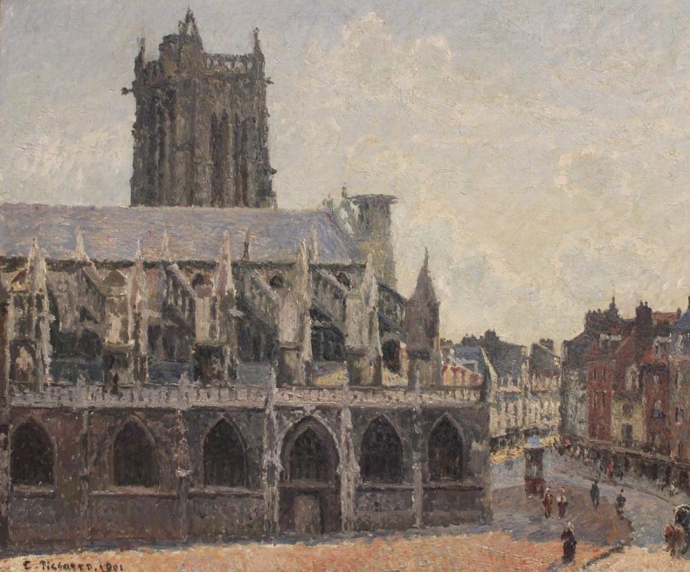 Camille Pissarro Dieppe Bölgesindeki Saint Jacques Kilisesi, Kanvas Tablo, Camille Pissarro, kanvas tablo, canvas print sales
