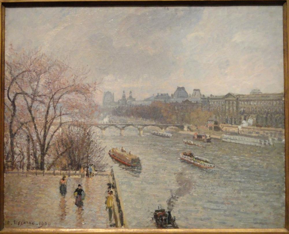 Camille Pissarro Öğleden Sonra Yağmurlu Havada Yeniden Canlanma Sonrası Louvre, Kanvas Tablo, Camille Pissarro, kanvas tablo, canvas print sales