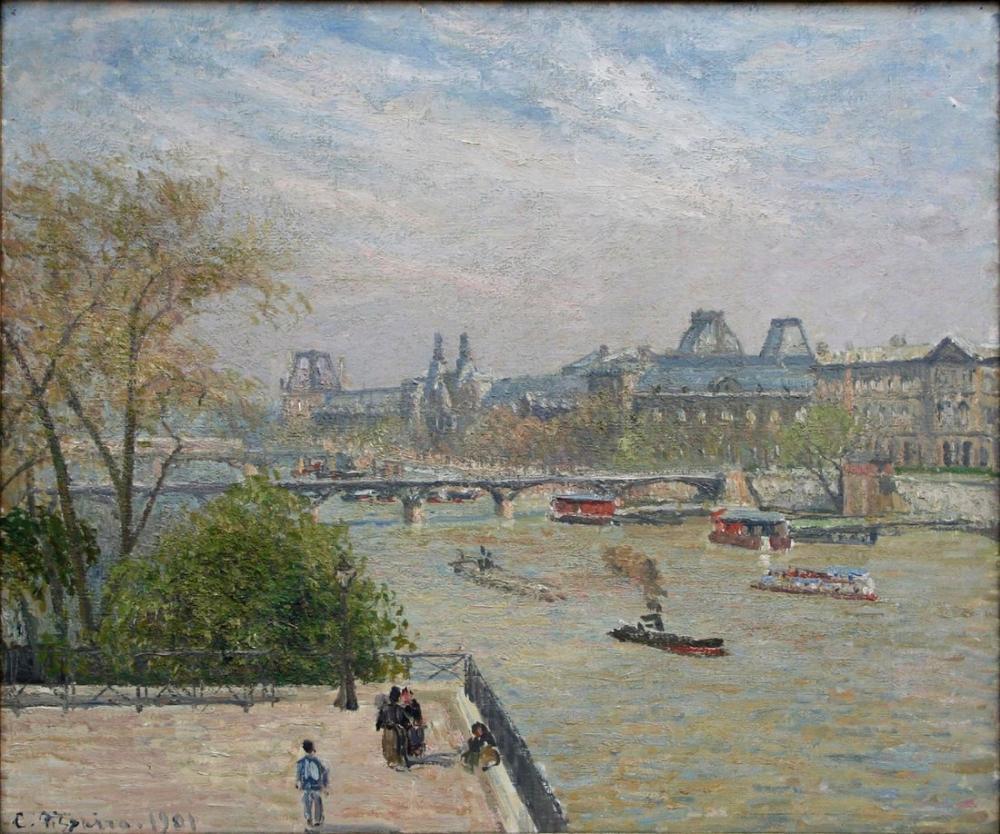 Camille Pissarro Louvre İlkbahar, Kanvas Tablo, Camille Pissarro, kanvas tablo, canvas print sales
