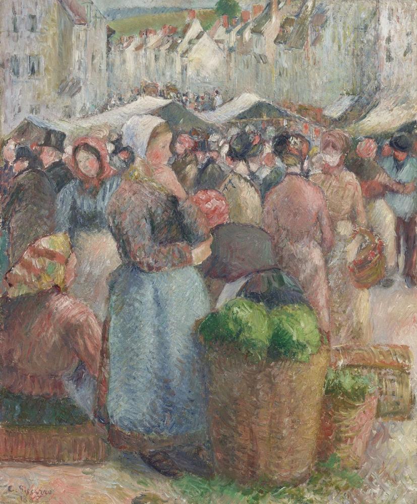 Camille Pissarro Büyük Pazarın Caddesi, Kanvas Tablo, Camille Pissarro, kanvas tablo, canvas print sales