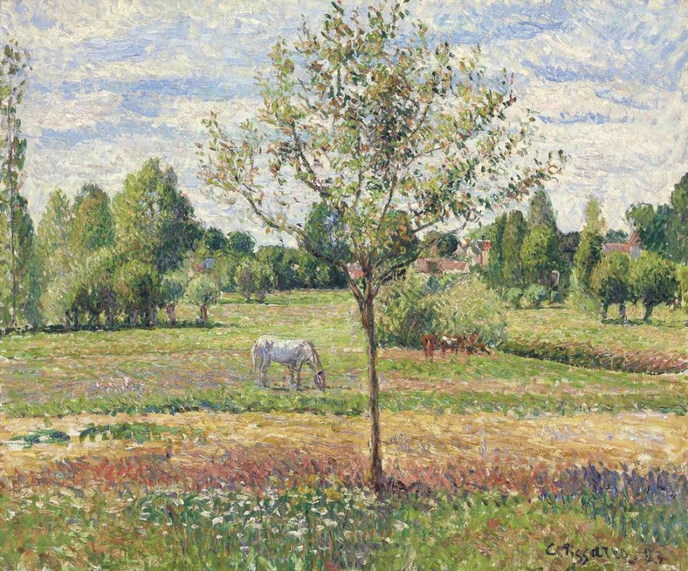 Camille Pissarro Gri At İle Çayır Eragny, Kanvas Tablo, Camille Pissarro