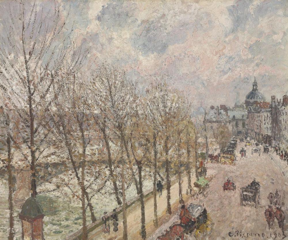 Camille Pissarro Le Quai Malaquais Et lInstitut, Kanvas Tablo, Camille Pissarro