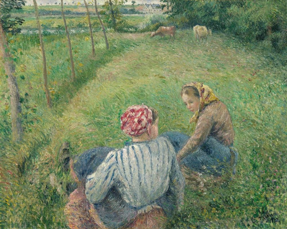 Camille Pissarro Köylü Kızlar, Kanvas Tablo, Camille Pissarro
