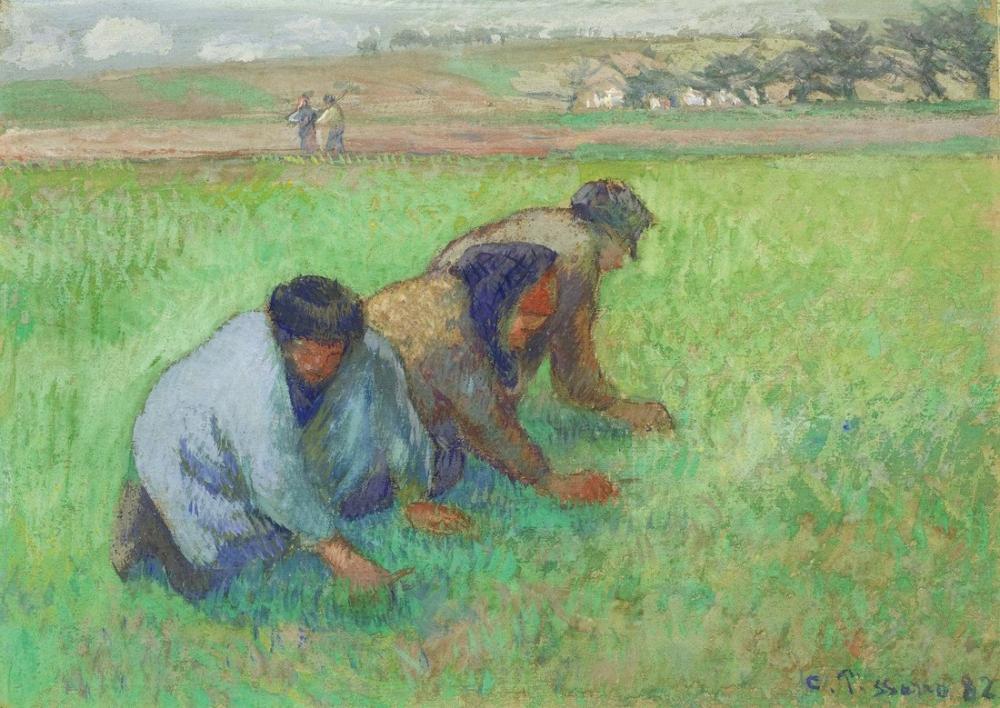 Camille Pissarro Genç Köylü Kızları, Kanvas Tablo, Camille Pissarro