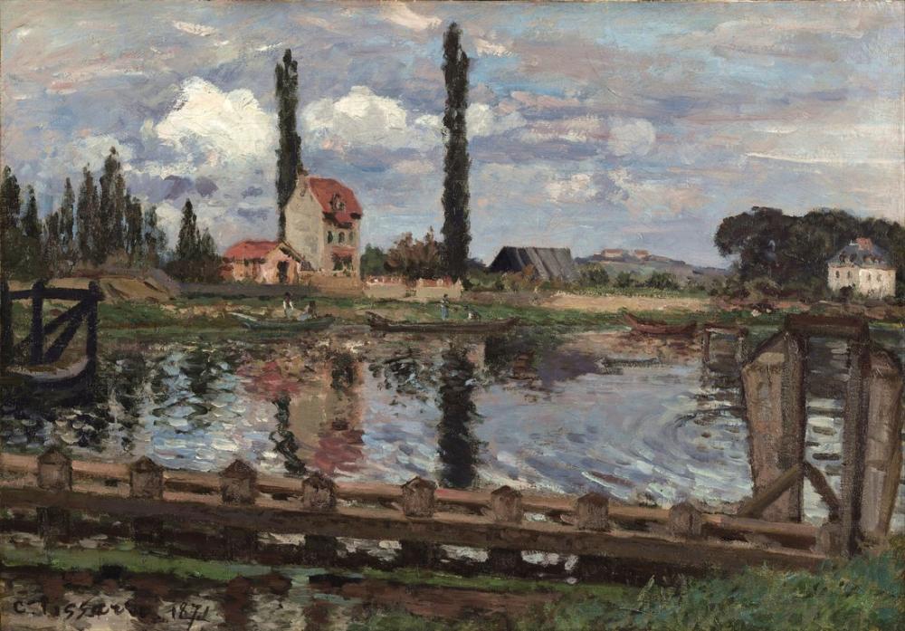 Camille Pissarro Limanı Seine Kenarında, Kanvas Tablo, Camille Pissarro