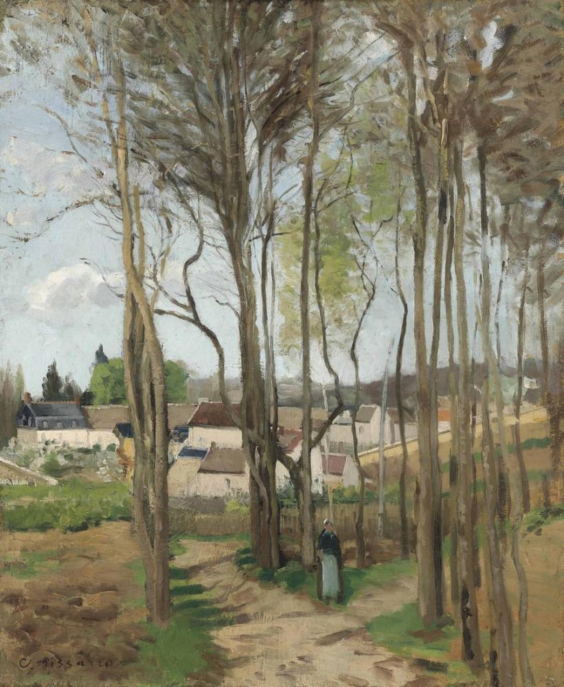 Camille Pissarro Ağaçların Arasından Köy, Kanvas Tablo, Camille Pissarro
