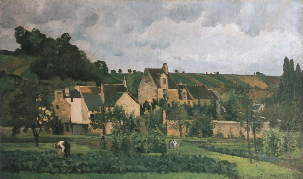 Camille Pissarro Hermitage Pontoise, Kanvas Tablo, Camille Pissarro