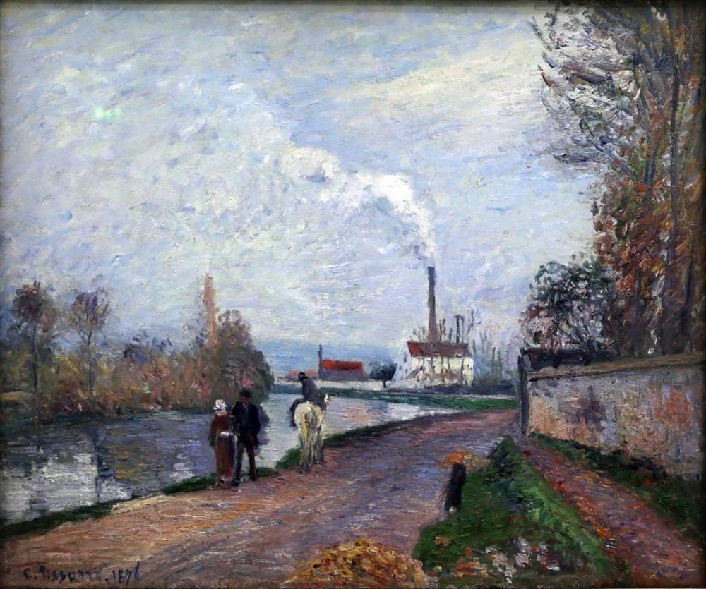 Camille Pissarro Pontoise Gri Havalarda Yakınında Oise, Kanvas Tablo, Camille Pissarro