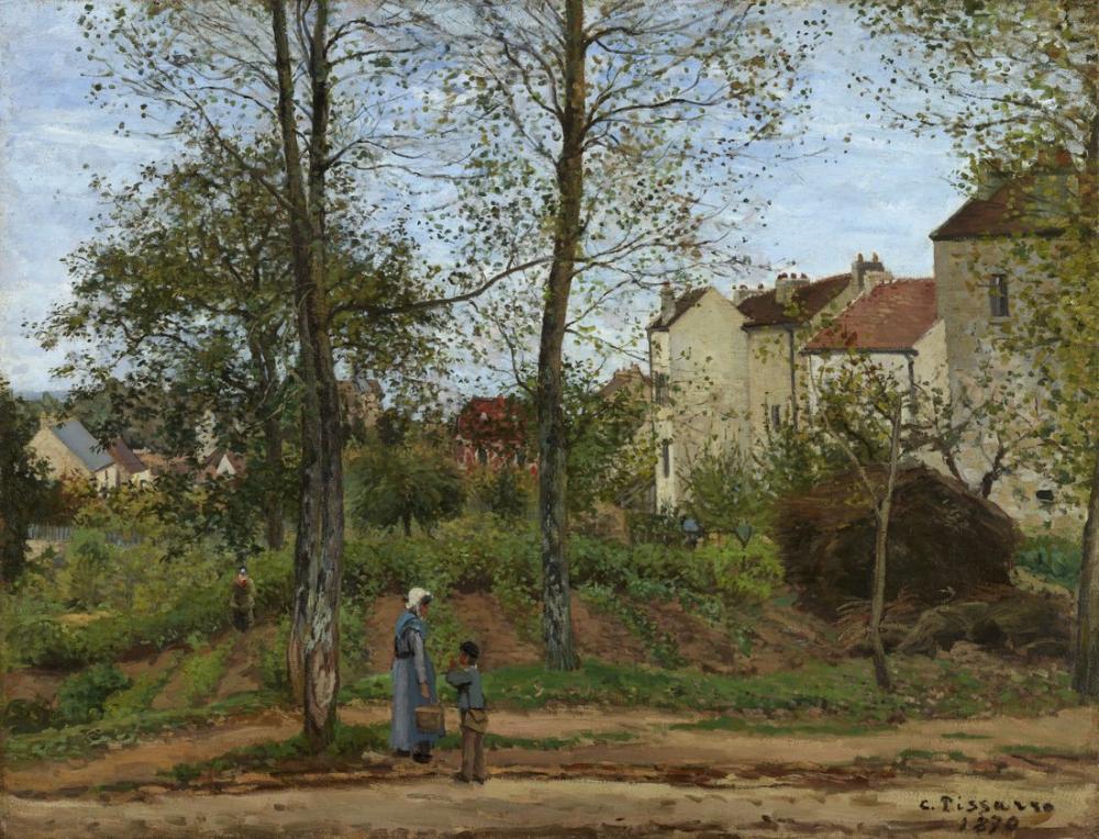 Camille Pissarro Bougival Sonbahar Evlerinde Gettyedited, Kanvas Tablo, Camille Pissarro