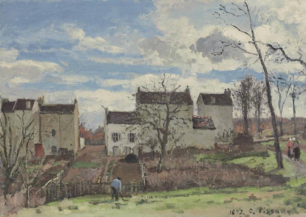 Camille Pissarro Louveciennes Çevresinde Bir Yamaç Kış Mevsimi Evler, Kanvas Tablo, Camille Pissarro