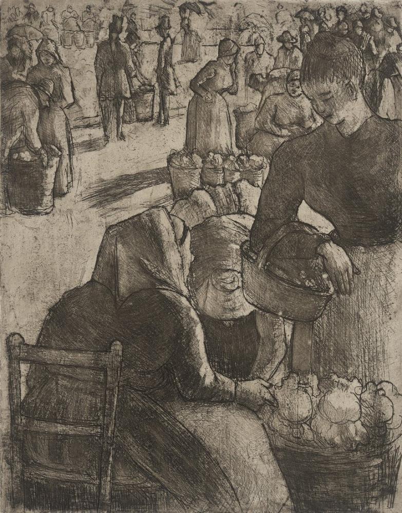 Camille Pissarro Marche Aux Legumes A Pointoise, Canvas, Camille Pissarro, kanvas tablo, canvas print sales