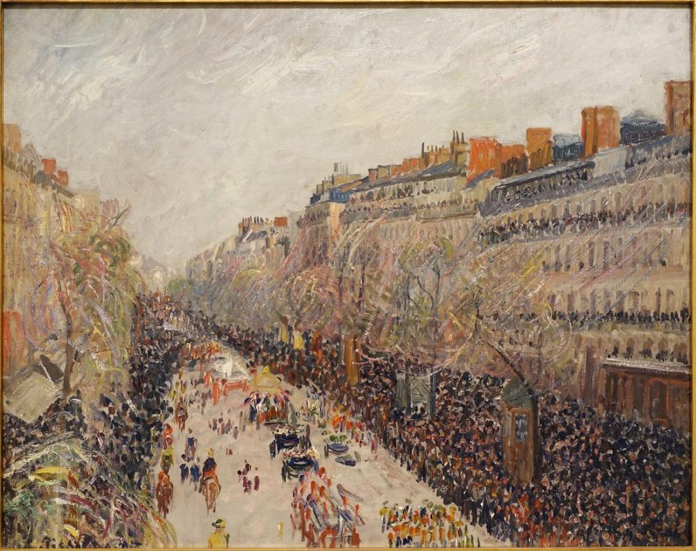 Camille Pissarro Bulvarlarda Mardi Gras, Kanvas Tablo, Camille Pissarro