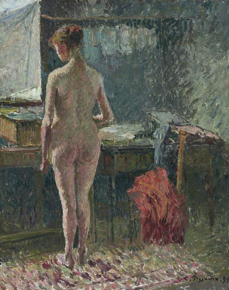 Camille Pissarro Bir Oda İçi Arka Çıplak Kadın, Kanvas Tablo, Camille Pissarro