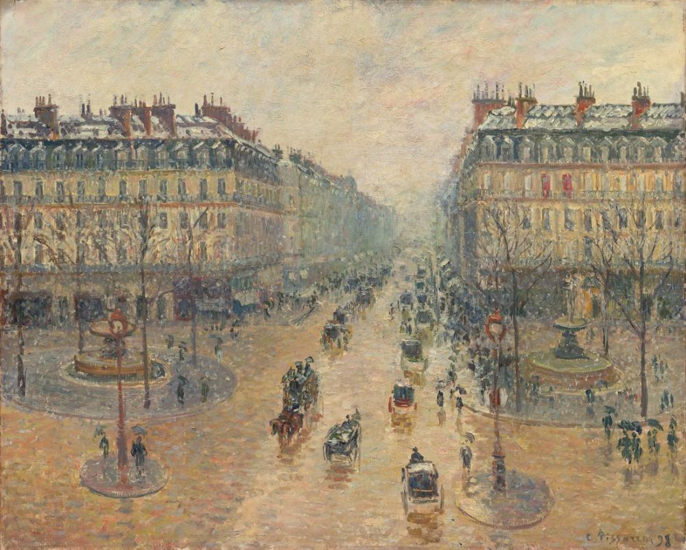 Camille Pissarro Opera Avenue Sabah Kar Etkisi, Kanvas Tablo, Camille Pissarro
