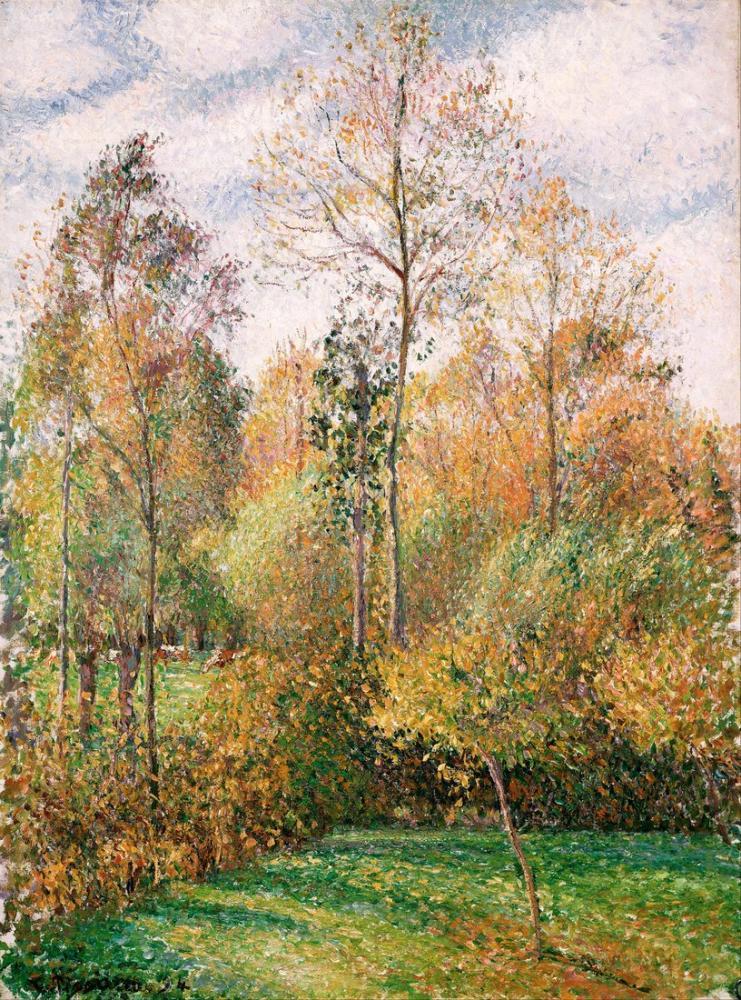 Camille Pissarro Sonbahar Kavakları Eragny, Kanvas Tablo, Camille Pissarro