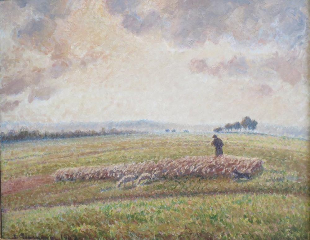 Camille Pissarro Koyun Sürüsü İle Manzara, Kanvas Tablo, Camille Pissarro