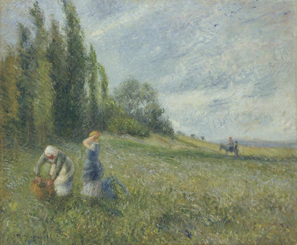 Camille Pissarro Pontoise Alanlarında Çiftçiler, Kanvas Tablo, Camille Pissarro